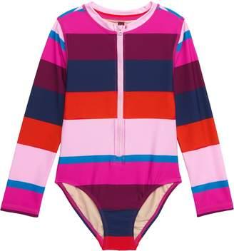 Tea Collection Cabana Stripe One-Piece Rashguard Swimsuit