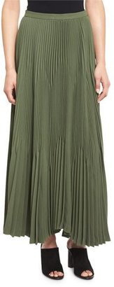 Theory Laire Winslow Crepe Plisse Skirt, Pine $455 thestylecure.com