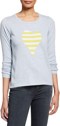 LISA TODD Fool For Love Striped Heart Long-Sleeve Cotton Sweater