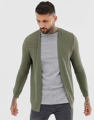 Asos Design DESIGN lightweight cable cardigan in khaki