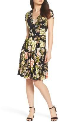 Maggy London Floral Print Pleat Skirt Dress
