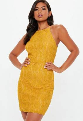 Missguided Yellow Lace Square Neck Bodycon Dress