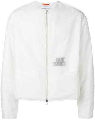 Oamc collarless translucent logo jacket