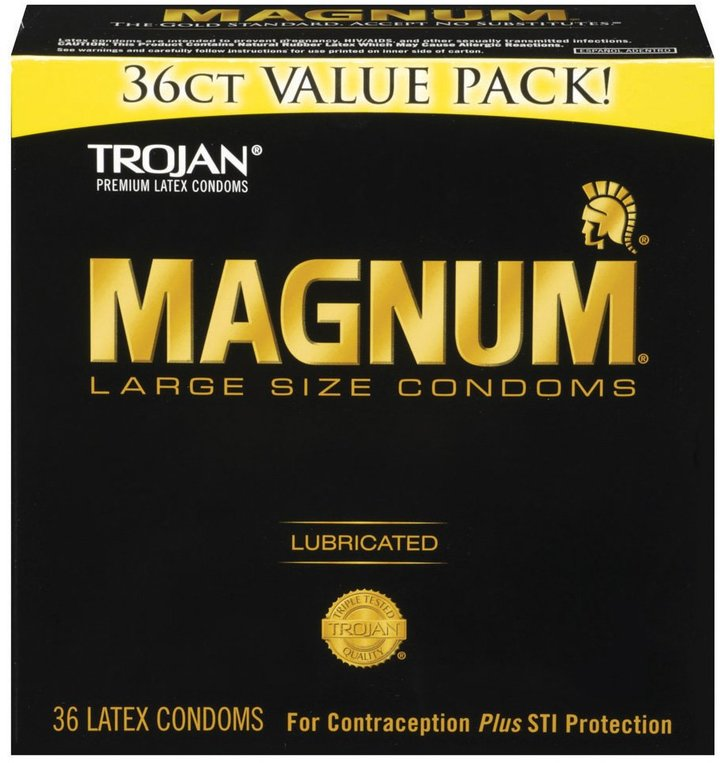 Trojan Magnum Lubricated Latex Condoms, 36 ct