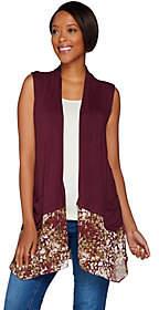 LOGO by Lori Goldstein Knit Vest with PrintedTrim & Pockets