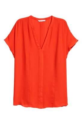 H&M Short-sleeved Blouse - Orange - Women