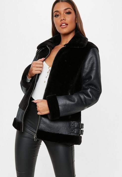 Tall Black Faux Fur Ultimate Aviator Jacket, Black