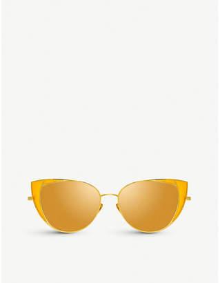 ceaf114ae4a Linda Farrow 855 C4 Des Voeux yellow-gold plated titanium cat-eye frame  sunglasses