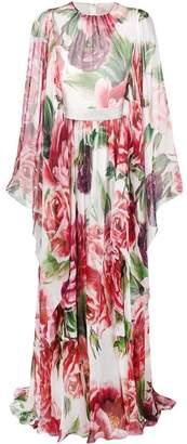 Dolce & Gabbana peony-print silk dress