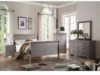 ACME Furniture ACME Louis Philippe III Eastern King Bed in Antique Gray, Multiple Sizes