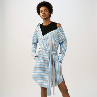 Maje Oversized shirt dress in striped cotton