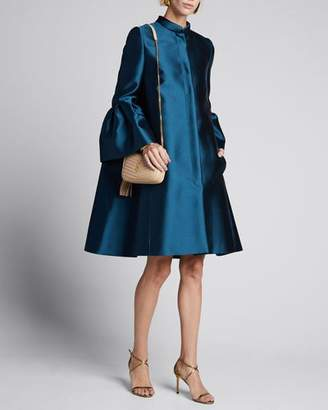 Carolina Herrera Silk Taffeta Bell-Sleeve Opera Coat
