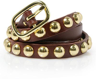 Linea Pelle Belts Gold Stud Belt in Chianti