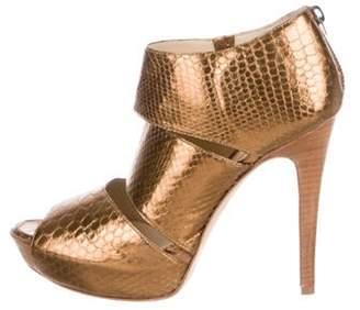 Alexandre Birman Metallic Platform Booties Gold Metallic Platform Booties