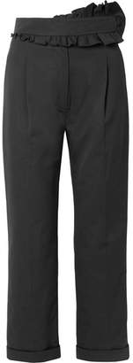 Carven Ruffled Cotton Straight-leg Pants - Black