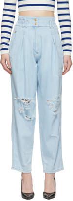Balmain Blue Destroyed Jeans