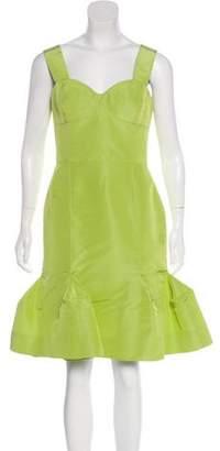 Oscar de la Renta Flounced Hem Silk Cocktail Dress