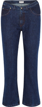 Cropped High-rise Flared Jeans - Indigo