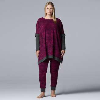 Vera Wang Plus Size Simply Vera Asymmetrical Tunic & Leggings Pajama Set