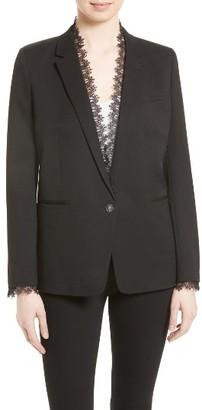 Women's The Kooples Lace Trim Suit Jacket $625 thestylecure.com