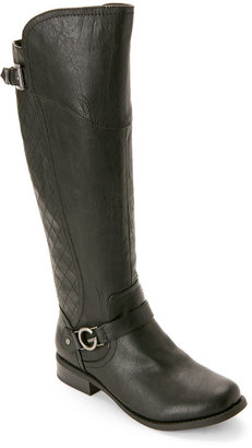 g by guess Black Hurder Flat Riding Boots $99 thestylecure.com