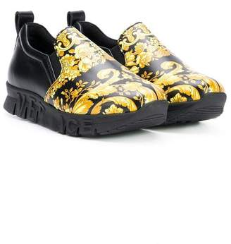 Versace baroque logo slip-on sneakers