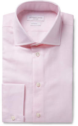 Richard James Pink Slim-Fit Slub Cotton And Linen-Blend Shirt