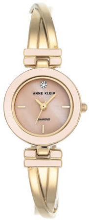 Anne Klein Anne Klein Metal Bangle & Mother-Of-Pearl Dial Watch