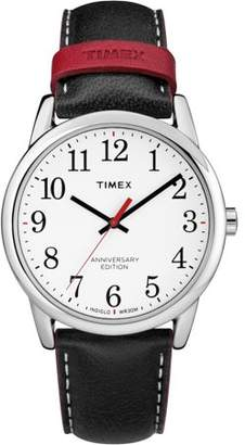 Timex Men's Easy Reader 40th Anniversary Black/White Watch, Leather Strap