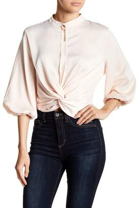Gracia Knotted Hem Satin Blouse