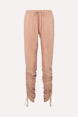 Ashish Ruched Sequined Georgette Tapered Pants - Beige