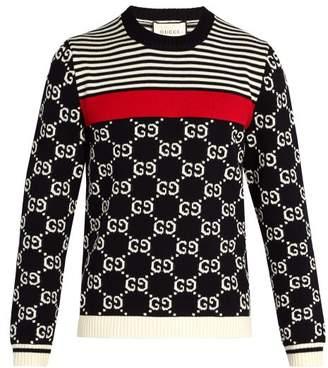 Gucci GG-intarsia and stripe crew-neck sweater
