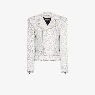 Balmain cracked-effect leather biker jacket