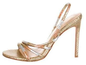 Brian Atwood Metallic Embossed Sandals
