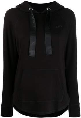 DKNY logo curved hem hoodie