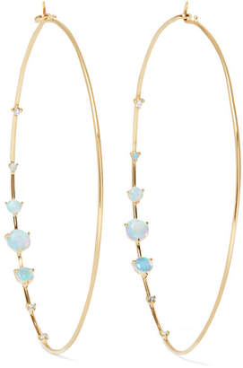 Wwake - Big Counting 14-karat Gold, Opal And Diamond Hoop Earrings