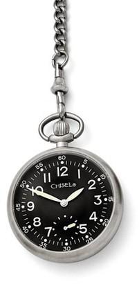 Primal Steel Chisel Stainless Steel Black Dial Pocket Watch