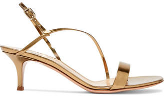 Gianvito Rossi 55 Metallic Leather Slingback Sandals - Gold