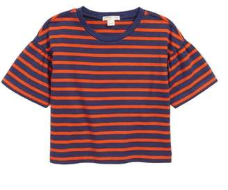 J.Crew crewcuts by Gathered-Sleeve Stripe Tee