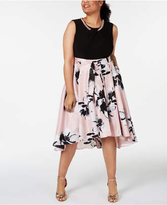 SL Fashions Plus Size High-Low Necklace Dress