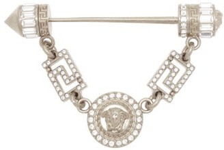 Versace Crystal Embellished Medusa Head Coin Brooch - Womens - Silver