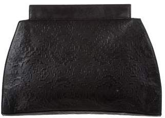 Missoni Leather-Trimmed Embossed Clutch
