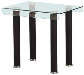 Benzara Tempered Glass Top End Table With Round Metal Feet