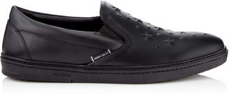 Jimmy Choo GROVE Black Sport Calf Leather Slip On Trainers with Embossed Stars