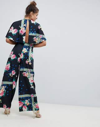 Asos Design DESIGN jumpsuit with overlay and wide leg in floral print