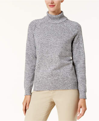 Karen Scott Cotton Marled Turtleneck Sweater