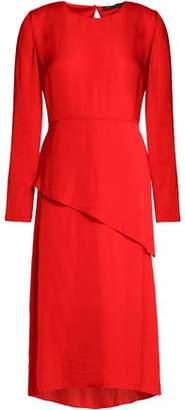 Maje Remania Ruffled Satin-Crepe Dress