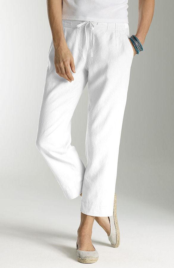 J. Jill Knit-waist linen-blend crops