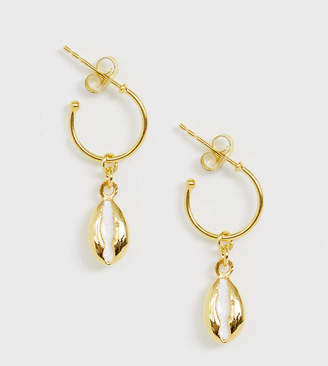 Asos Design DESIGN Sterling silver with gold plate hoop earrings with sea shell charm
