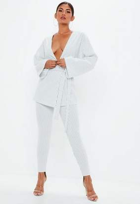 Missguided White Pinstripe Cigarette Pants